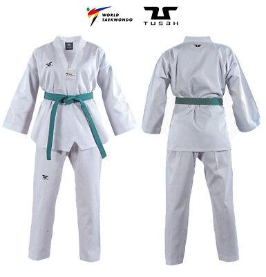 Dobok Basic Uniform Collo Bianco per Taekwondo Omologato WT con Ricamo su Schiena Tusah