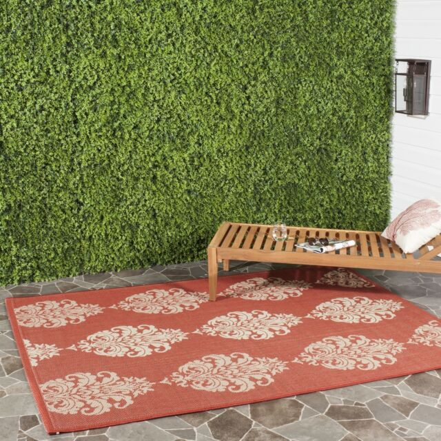 Safavieh St. Martin Damask Red/ Natural Indoor/ Outdoor Rug (4' x 5'7)