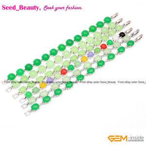 "Beauty Jade Stone Beads White Gold Plated Tennis Link Beaded Jewelry Bracelet 7"""