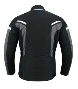 Herren-Motorradjacke-Mesh-Motorrad-Jacke-schwarz-Bekleidung-Protektoren-Jacke