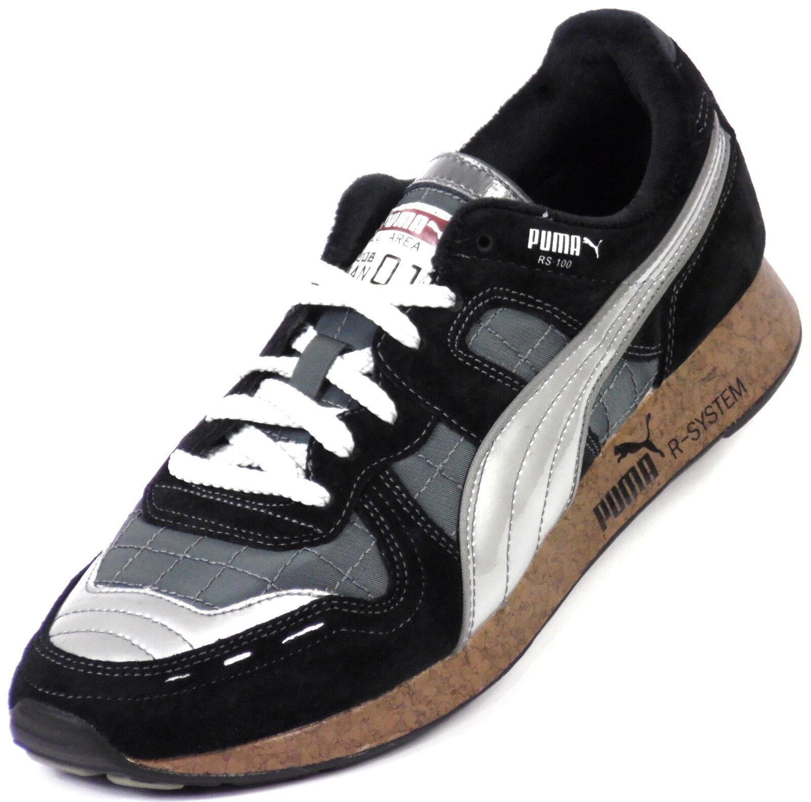 Neu PUMA RS 100 Parka Retro Black Herren Sportschuhe Sneaker Schuhe Schwarz