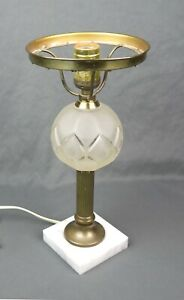 Vintage Antique Brass Column Glass Marble Base Table Lamp