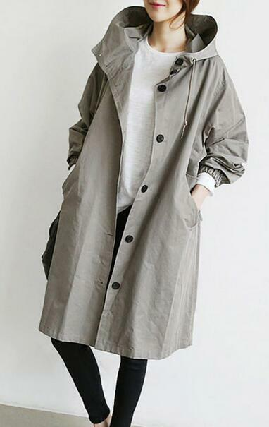 Ths01 XL-3XL Womens Oversize Loose Loose Loose Hooded Casual Trench Outwear British Overcoat 5fddfe