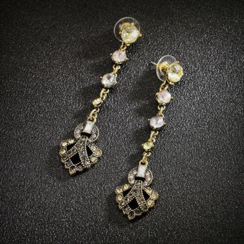 Earrings Nails Golden Fine Long Art Deco Crystal Retro Marriage BB1