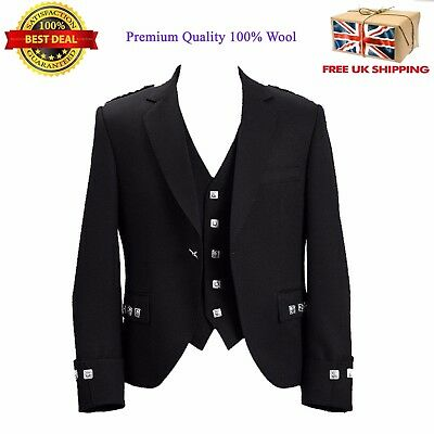 100% Wool Blazer Traditional Scottish Argyle Kilt Jacket & Waistcoat 6 Colours Fabriken Und Minen