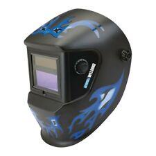 Solar Powered Auto Darkening Lens Welding Helmet Uv Ir Protection Blue Design