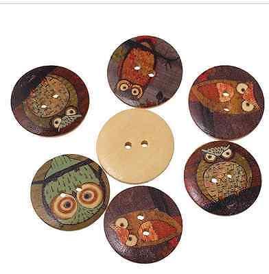 5 Wooden Flatback Buttons Owl 2 Hole 15 X 40mm Sewing Craft UK SELLER Mixed Bird