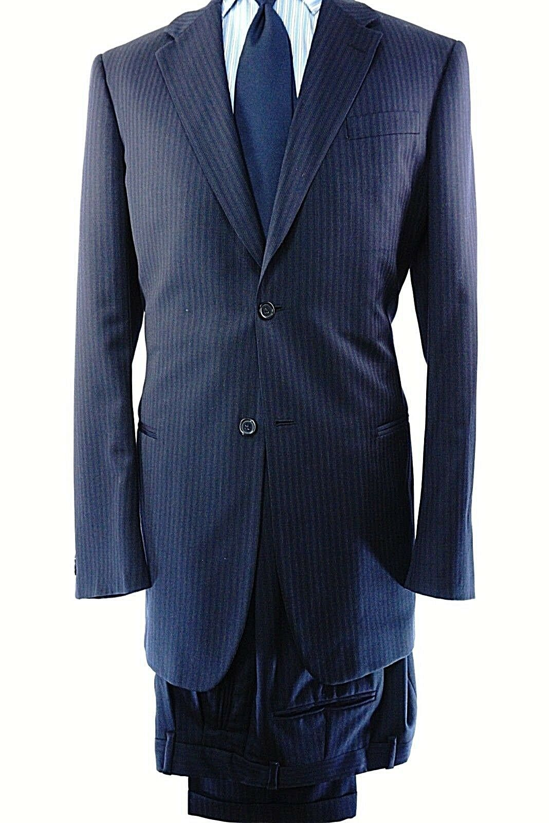 women Karan Men's 42 35 XL Suit Navy bluee Pinstripe 100% Wool made in   402