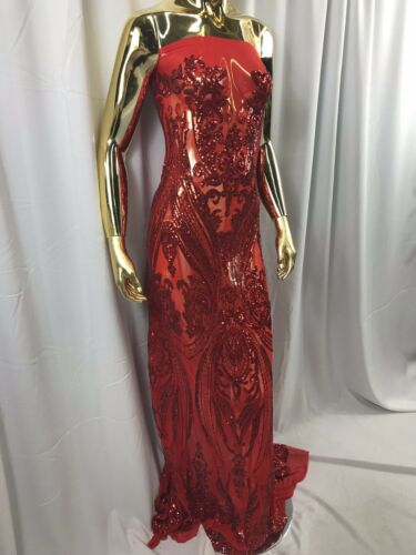 BY THE YARD LACE-DREES-PROM-GOMN-WEDDING RED 4 WAY STRETCH SEQUINS FABRIC