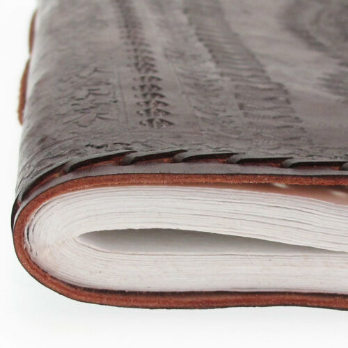 Indra Fair Trade Handmade XL Stitched and Embossed Leather Photo Album Scrapbook