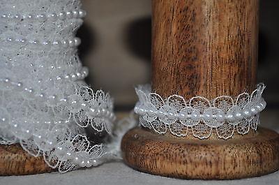 1M White Lace & Pearls Ribbon Trim Wedding Sewing Craft Card Making May Arts