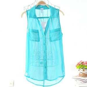 Women-Turquoise-Blue-Summer-Sleeveless-Shirt-Chiffon-See-Thru-Blouse-Top-Size-14