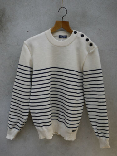 BINIC II by SAINT JAMES Breton marinai Maglione 100/% Lana-Cream /& Navy a Righe