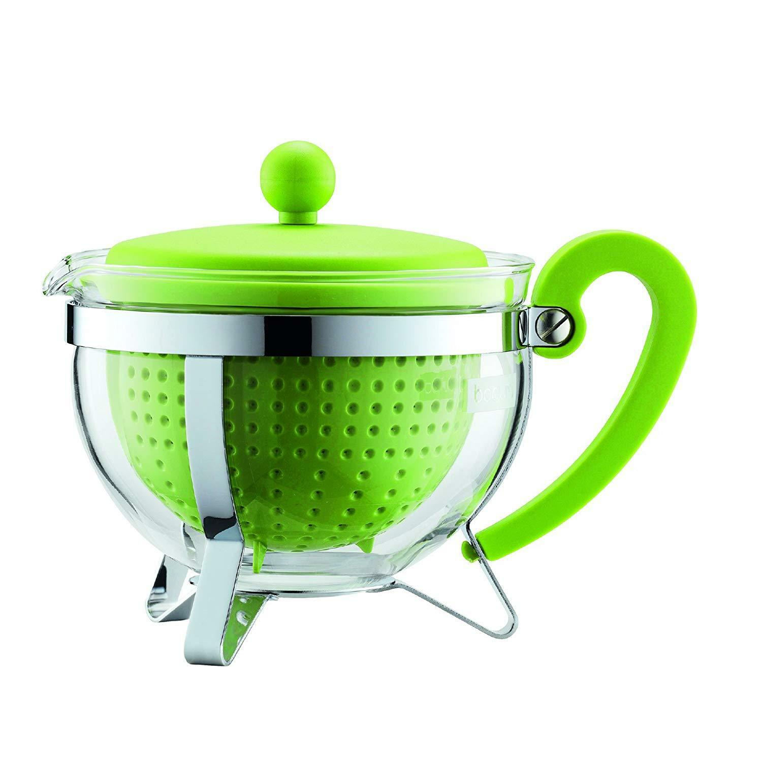Bodum 1975-565-2 CHAMBORD Teapot, 1 L with Colourouge Plastic Lid, Handle and Fi