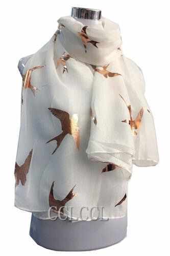 Señoras Grandes Tragar Bufanda Suave Con Hoja De Oro Rosa Grandes Tragar Pájaro Metálico Regalo