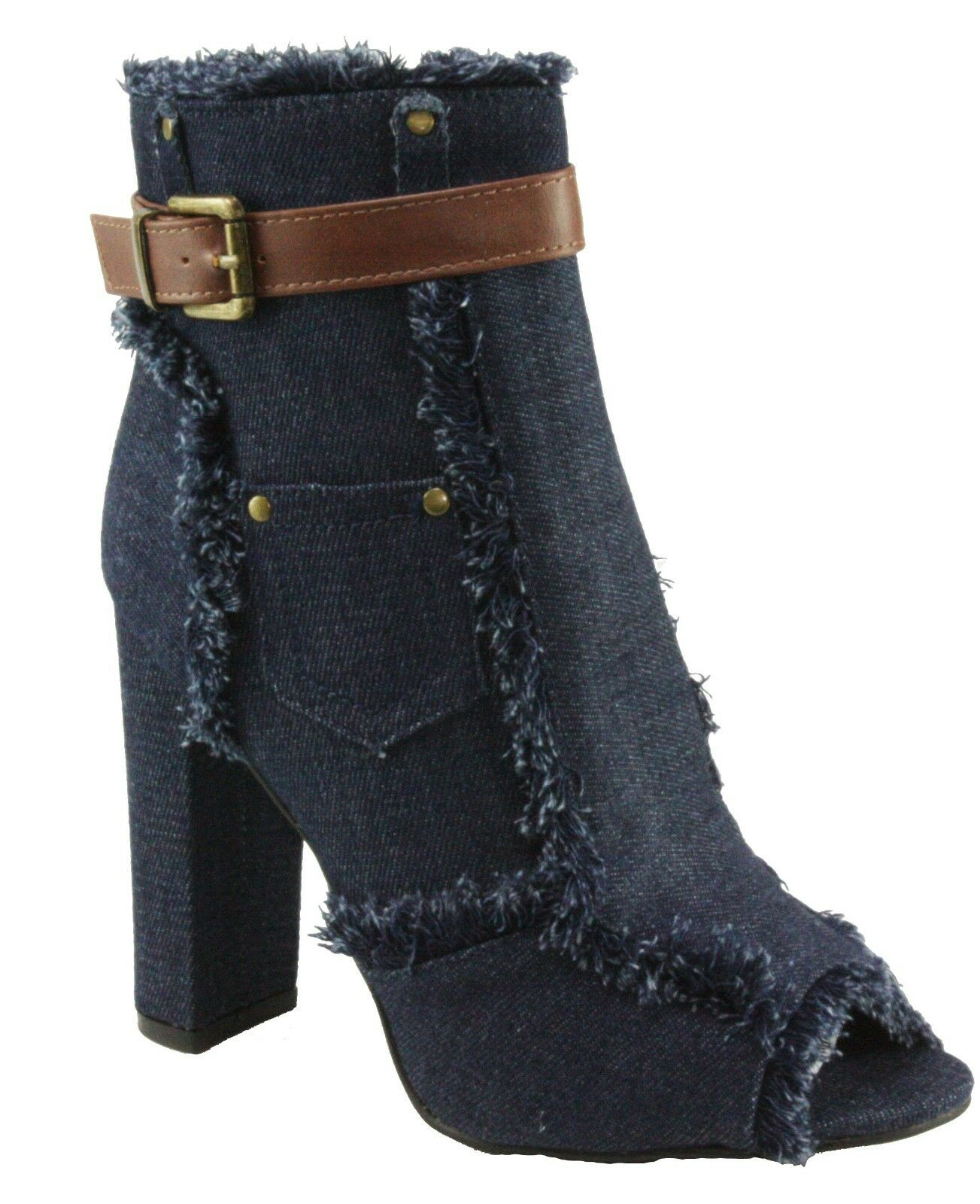 Forever Women's Sherry-10 Peep-toe Denim Fabric Ankle Block High Heel Booties