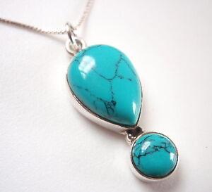 Blue-Turquoise-Teardrop-2-Gem-925-Sterling-Silver-Pendant-Corona-Sun-Jewelry
