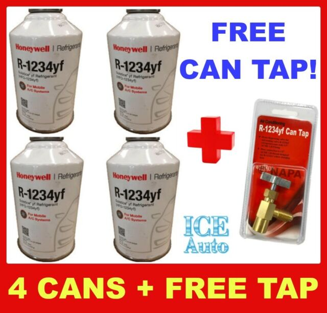 FREE CAN TAP! 4 CANS of R1234yf Refrigerant Honeywell 8oz Solstice® HFO  FREON
