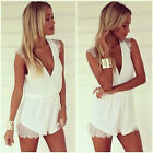 New Summer Women V Neck Chiffon Sleeveless Jumpsuit Lace Playsuit Romper
