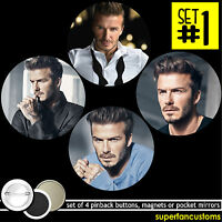 David Beckham Set Of 4 Buttons Or Magnets Or Mirrors Badges Obe Pinback 1062