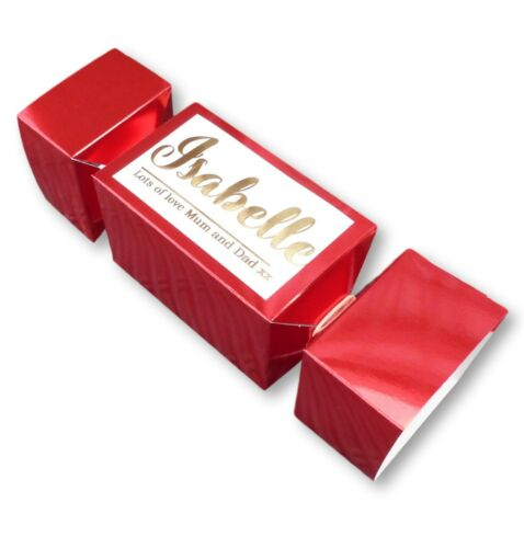 PERSONALISED CHRISTMAS CRACKER GIFT BOX RED GOLD METALLIC CUSTOM NAME MESSAGE