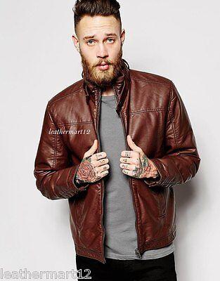 ADARGA 100% Genuine Lambskin Brown Leather Jacket Designer Biker Blazer Men's