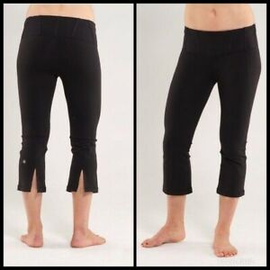 lululemon tadasana slit crop capri yoga leggings black