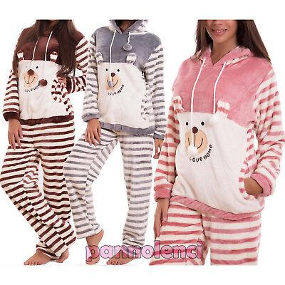 Pyjama Femme Sweat Shirt Pantalon Lingerie Fourrure à Capuche Idée Cadeau Neuf | eBay