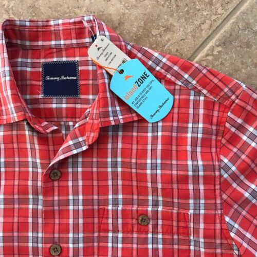 Tommy Bahama Island Zone Check-O-Lada Silk Blend Camp Shirt Mens L NWT $128 Red
