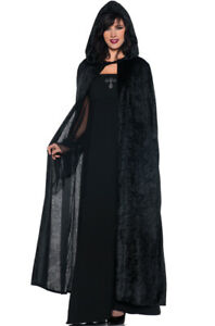 "Adult Unisex 55/"" Hooded Cape Long Cloak Black Halloween Party Costume Dress Coat"