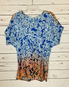CAbi-Women-039-s-S-Small-Floral-Orange-Blue-Ombre-Short-Sleeve-Top-Shirt-Blouse-79