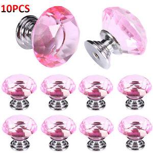 Home-10pcs-Pink-Crystal-Glass-Pulls-Diamond-Drawer-Door-Cabinet-Hardware-Knob-US
