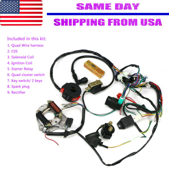 Cdi Wire Harness Stator Assembly Wiring Kit For Atv