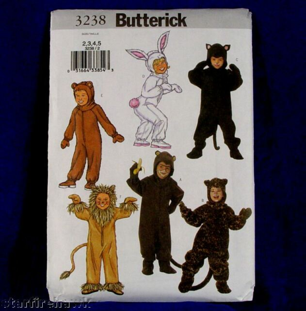 Cats Tigers Bears Butterick Child/'s Costume Pattern 3238 ~ Bunnies Monkeys