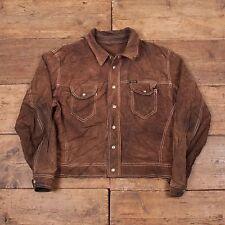 """Mens Vintage 90s Diesel Western Suede Leather Trucker Jacket Brown L 46"""" R4588"""