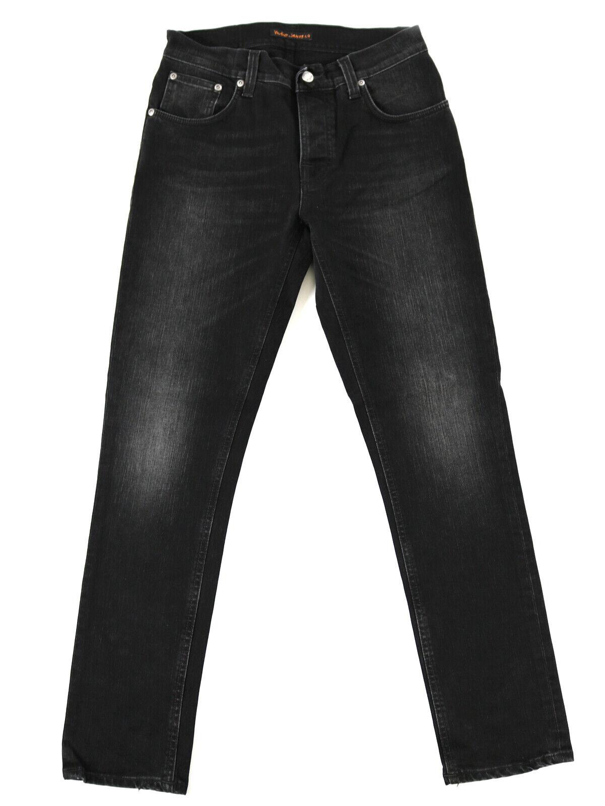 Nudie Herren Slim Fit Jeans-Hose     Grim Tim schwarz Fall  W30 L30  Stretch 5df021