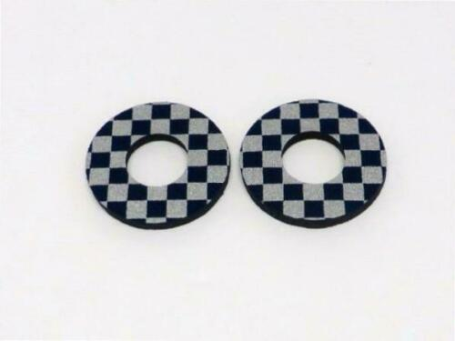 Anodized Checkers Grip Donuts for BMX MX Black Red or Blue /& Chrome
