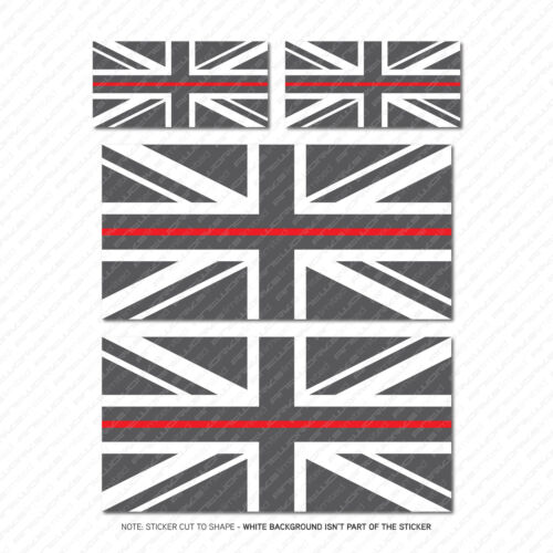 5706 Blanc /& Rouge 4 X Thin Red Line Union Jack Drapeau Vinyle Autocollants-Gris