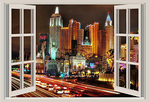 Las Vegas Lights Window View Repositionable Color Wall Sticker Wall