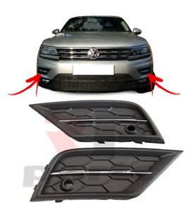 Per VW Tiguan 16-20 GRIGLIA LATERALE PARAURTI ANTERIORE CON PDC Fori Chrome Coppia Nero