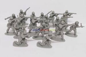 **100PCS** New Plastic Army Men 5cm 1/35 Figures Military Set Toy Soldier - Grey