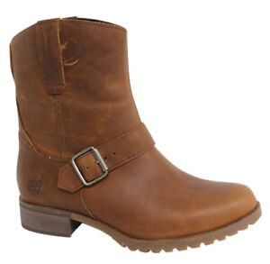 Details zu Timberland Banfield Mid Pull On Brown Leather Womens Boots A162V D36