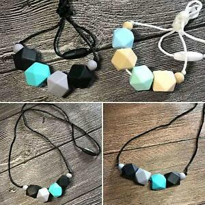 Grey LIAOWY Sensory Chew Necklace for Boys and Girls, Baby Silicone Teething Neckalce Pendant