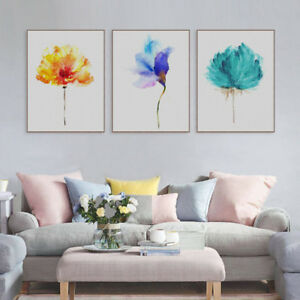 Modern-Watercolor-Plant-Canvas-Art-Print-Poster-Flower-Painting-Wall-Picture-New