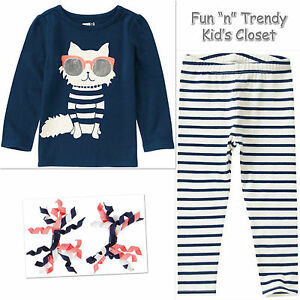NWT-Crazy-8-Girls-Size-2T-or-3T-Kitty-Tee-Shirt-Top-amp-Leggings-2-PC-OUTFIT-SET