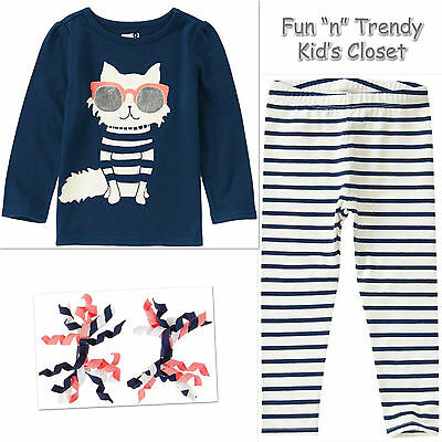 NWT Crazy 8 Girls Size 4T 5T Heart Tee Shirt Top /& Stripe Crop Leggings 2-PC SET