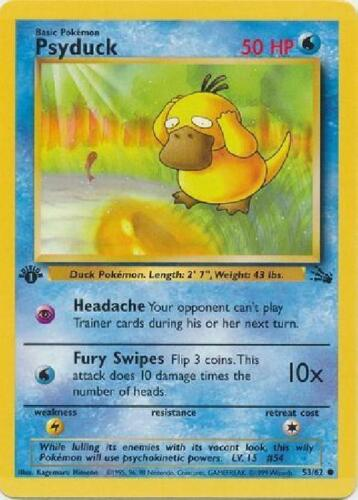 53//62 Common 1st Edition Played 1st Ed Fossil Pokemon 2B3 Psyduck