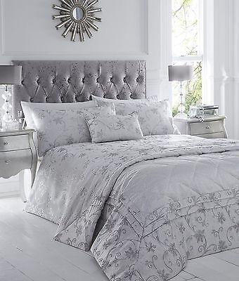 Bettwäsche Unparteiisch Doppelbett Bettwäschegarnitur Set Ravina Silber Blumenmuster Luxus