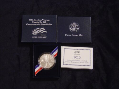2010 American Diabled Veterans 1oz Uncirculated Silver Dollar Free Shipping