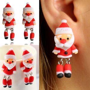 1Pair Women Jewelry Animal Christmas Earrings Santa Claus Ear Stud Polymer Clay
